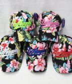 48 Units of Los Angeles Script Floral Baseball Cap - Baseball Caps & Snap Backs