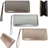 36 Units of Women's wristlet wallet in neutral metallic faux leather. - Leather Wallets