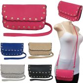 36 Units of Studded horizontal cross body bag with a scalloped design - Leather Purse and Handbags