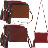 36 Units of Large horizontal faux leather cross body with a tassel, wristlet and cross body strap. - Shoulder Bags & Messenger Bags