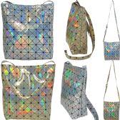 36 Units of Large holographic geometric print cross body bucket bag. - Shoulder Bags & Messenger Bags