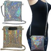 36 Units of Holographic cross body bag with a back pocket to fit any size cell phone - Shoulder Bags & Messenger Bags