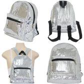 18 Units of Mirror metallic crocodile print mini fashion back pack in silver - Backpacks