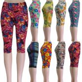 "48 Units of ""Soft Feel"" below the knee capri length leggings in assorted prints including floral and aztec - Womens Leggings"