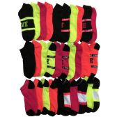 30 Units of Yacht & Smith Womens 9-11 No Show Ankle Socks Assorted Prints, Neon Stripes - Womens Ankle Sock