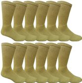 240 Units of Mens Ringspun Cotton Ultra Soft Crew Sock Khaki - Mens Crew Socks