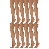 12 Pack of Mod & Tone Sheer Support Control Top 30D Womens Pantyhose (Nude, Medium) - Womens Tights