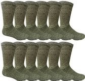 12 Pairs Value Pack of Wholesale Sock Deals Mens Ringspun Cotton 2Tone Twisted Socks, Black - Mens Crew Socks