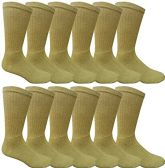 12 Pairs Value Pack of Wholesale Sock Deals Mens Ringspun Cotton 2Tone Twisted Socks, Khaki - Mens Crew Socks