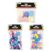 72 Units of Pastel Glitter Pom Poms - Pom Poms and Feathers
