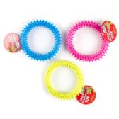 57 Units of 4.5in Rubber Ring Dog Toy With Spikes - Pet Toys