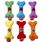 36 Units of 9 in Plush Bone Dog Toy W/squeaker - Pet Toys