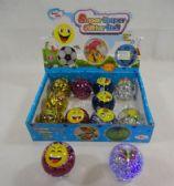 72 Units of L/U Flashing Glitter Bouncing Ball [Butterfly/Emoji]