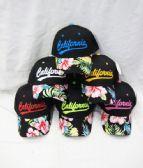 "24 Units of ""California"" Floral Ball Cap - Baseball Caps & Snap Backs"
