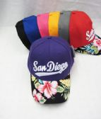 "24 Units of ""San Diego"" Floral Ball Cap - Baseball Caps & Snap Backs"