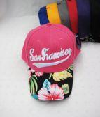 "24 Units of ""San Francisco"" Floral Ball Cap - Baseball Caps & Snap Backs"