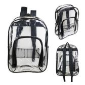 "24 Units of 17"" Kids Clear Backpacks with Black Trim - Backpacks 18"" or Larger"