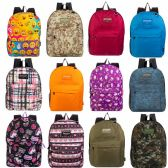 "24 Units of 17"" Kids Classic Padded Backpacks in 4 Assorted Unique Prints - Backpacks 18"" or Larger"