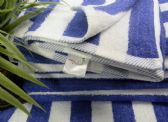 12 Units of Blue Cabana Stripe-Palm Collection 30x60 Cotton - Beach Towels