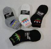 24 Units of Men's Anklets 9-11 [Marijuana/SPORT] BLK/GRY/WHITE - Mens Ankle Sock