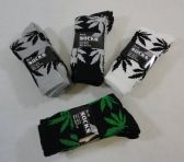 24 Units of Men's Crew Socks 10-13 [Marijuana Leaves] - Mens Crew Socks