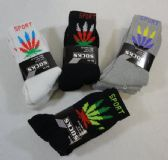 24 Units of Men's Crew Socks 9-11 [Colorful Marijuana] BLK/GRY/WHITE - Mens Crew Socks