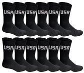 12 Pairs Value Pack of Wholesale Sock Deals Womens USA Crew Socks, Black, 9-11 - Womens Crew Sock