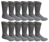 12 Pairs Value Pack of Wholesale Sock Deals Mens Crew Socks, Dark Gray 10-13 - Mens Crew Socks