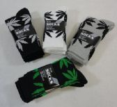 24 Units of Men's Crew Socks 9-11 [Marijuana Leaves] - Mens Crew Socks