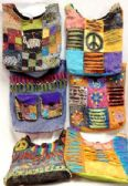 6 Units of Assorted Nepal Hobo Bags Tie Dye Fabric Handmade Sling - Handbags