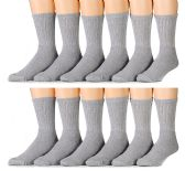 12 Pairs of Men's Heavy Duty Steel Toe Work Socks, Gray, Sock Size 10-13 - Mens Crew Socks