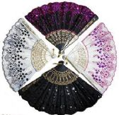 30 Units of Sequinned & Embroidered Folding Hand Fans - Gifts Items
