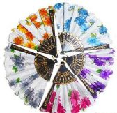 30 Units of Flowered Folding Hand Fans - Gifts Items