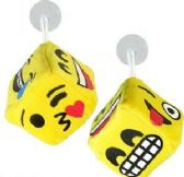 "288 Units of 2.5"" Plush Emoji Dice Window Hangers - Plush Toys"