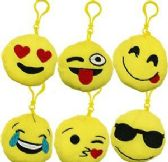 "48 Units of 3.5"" Plush Emoji Zipper Pull Keychains - Plush Toys"
