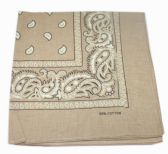 72 Units of Paisley Bandana In Tan - Bandanas