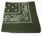 72 Units of Paisley Bandana In Army Green - Bandanas