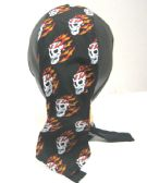 60 Units of Du Rag Leather With Skeleton Flames - Bandanas