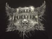 12 Units of LARGE DECAL T-SHIRT BIKE FOREVER SKULL - Mens Shirts