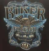 12 Units of LARGE DECAL T-SHIRT BIKER FOREVER/BLUE PRINT