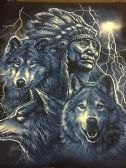12 Units of LARGE DECAL T-SHIRT INDIAN WOLF/BLUE PRINT