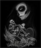 12 Units of LARGE DECAL T-SHIRT SKELINGTON MOTORCYCLE - Mens Shirts