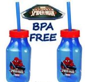 72 Units of Marvel's Spiderman Acrylic Milk Bottles w/Lid & Straw - Drinkware