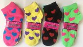 "72 Units of Woman Short Socks""Heart""/Color Assorted - Womens Ankle Sock"