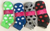 72 Units of Women dot short socks/color assorted - Womens Ankle Sock