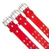 48 Units of Double Hole Red Belt - Unisex Fashion Belts