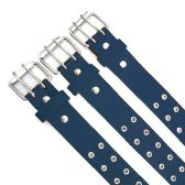 48 Units of Double Hole Navy Blue Belt - Unisex Fashion Belts