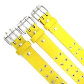 48 Units of Yellow Double Hole Belt - Unisex Fashion Belts