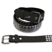 48 Units of Pyramid Studded Grey Belt - Unisex Fashion Belts