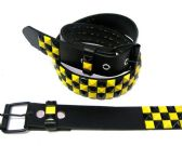 48 Units of Pyramid Studded Black & Yellow Belt - Unisex Fashion Belts